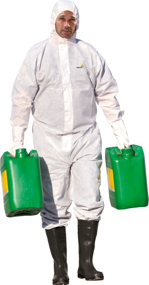 """Image of Delta Plus DT119 Type 5/6 Disposable Coverall White X Large 42-45"""" Chest 31"""" L"""