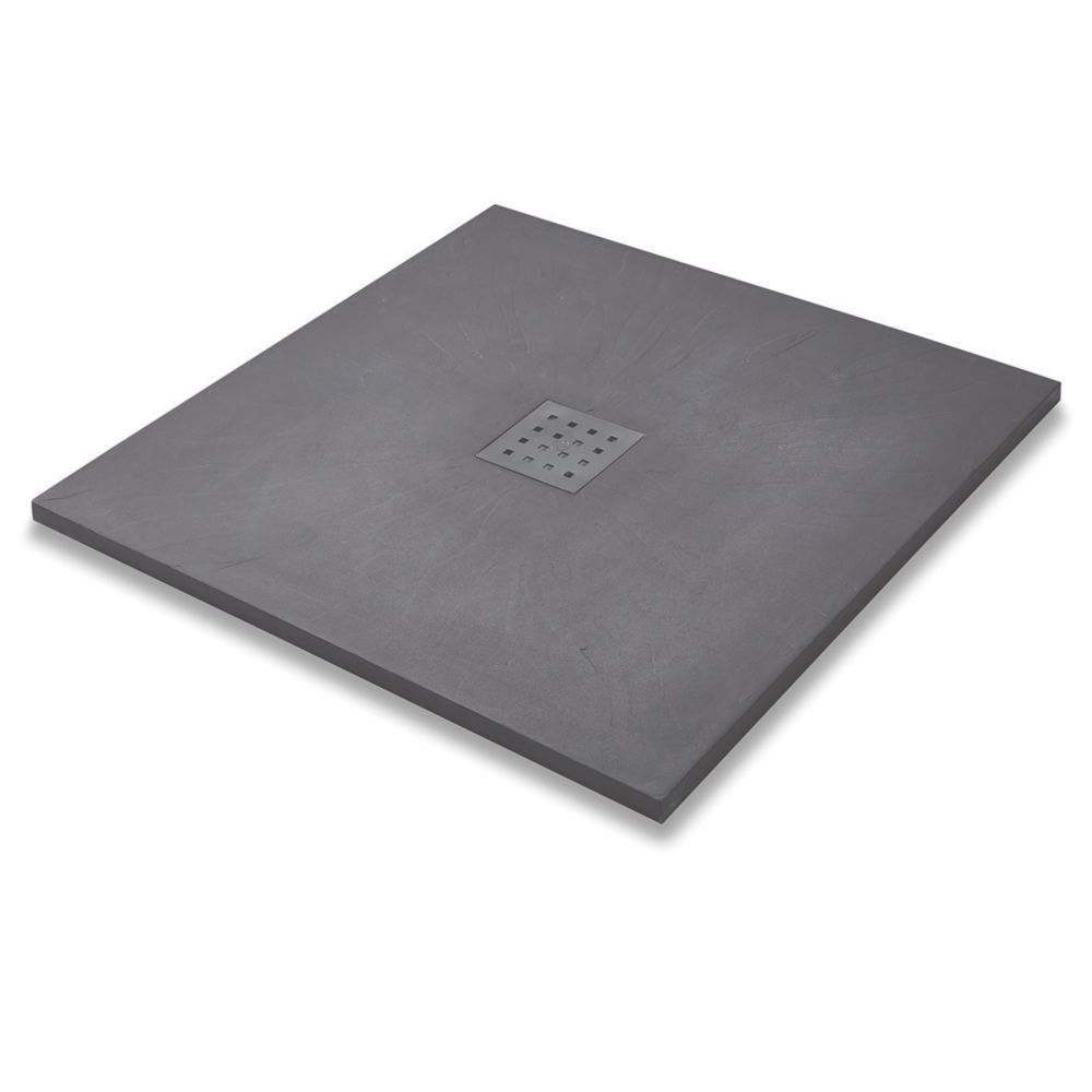 Image of The Shower Tray Company Square Shower Tray Grey Slate-Effect 800 x 800 x 27mm