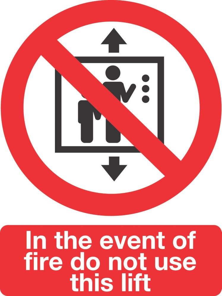 """Image of In The Event Of Fire Do Not Use This Lift"""" Sign Pack of 50 210 x 148mm 50 Pack"""