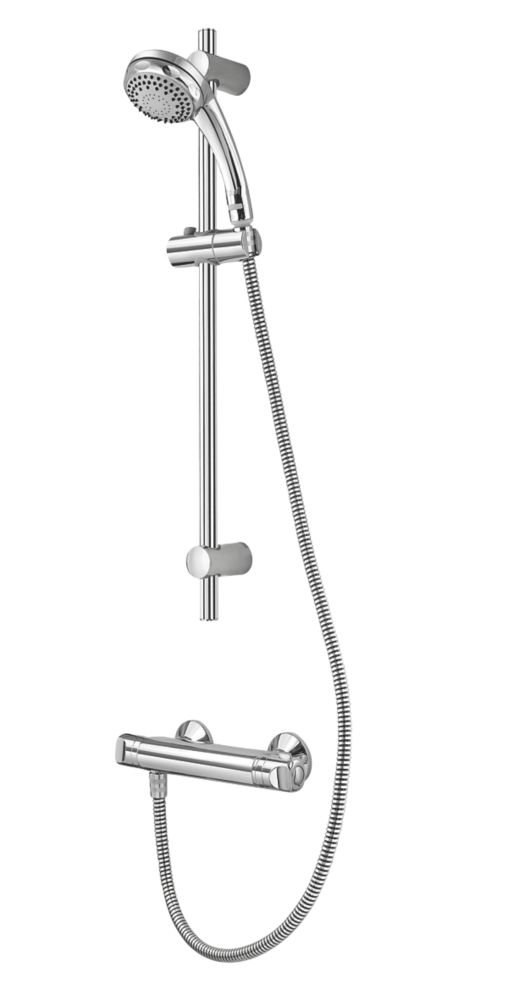 Image of Aqualisa AQ100 Rear-Fed Exposed Chrome Thermostatic Mixer Shower