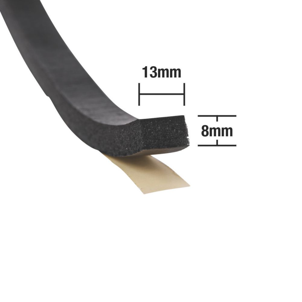 Image of Stormguard Extra Thick Weatherstrip Black 3.5m 2 Pack