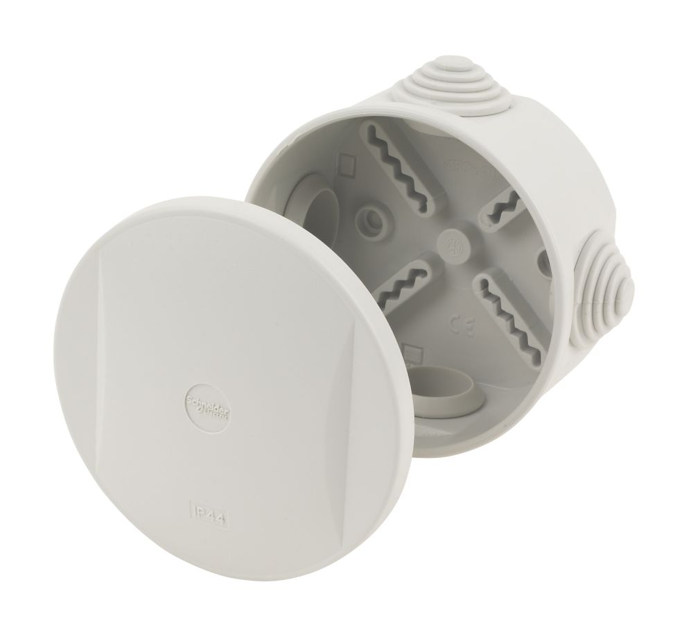 Image of Round 4-Entry Junction Box with Knockouts Grey 85mm