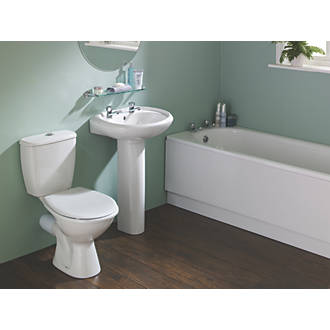 Grove Contemporary Single Ended Bathroom Suite with Steel Bath