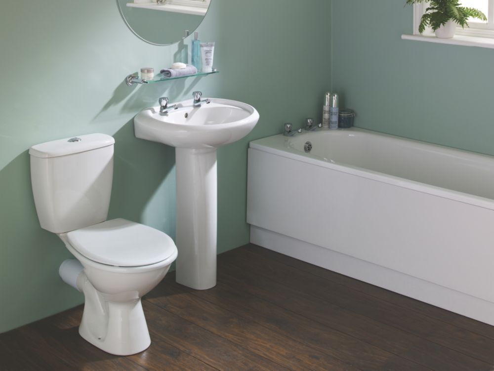Image of Grove Contemporary Single Ended Bathroom Suite with Steel Bath