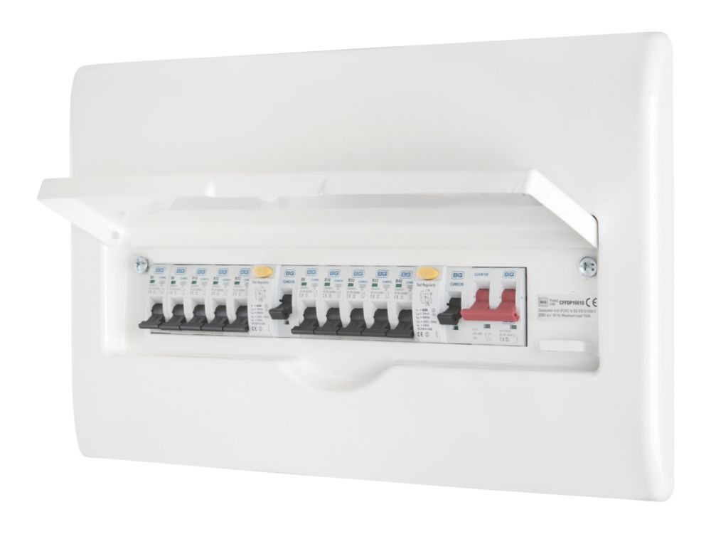 Image of BG Recessed Populated 10-Way Dual RCD Metal Consumer Unit