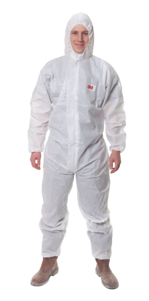 "Image of 3M 4515 Type 5/6 Disposable Protective Coverall White Lge 39-43"" Chest L"
