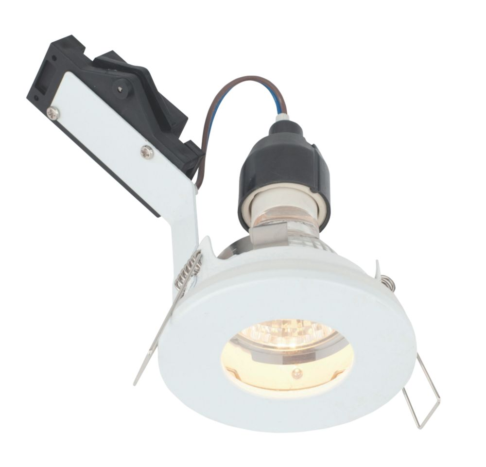 Image of LAP Fixed Round Mains Voltage Bathroom Downlight Gloss White 240V