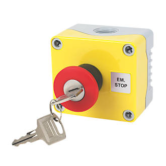 Image of Hylec 1-Way A-Lock Mushroom Head Stop Push Button with Key Reset
