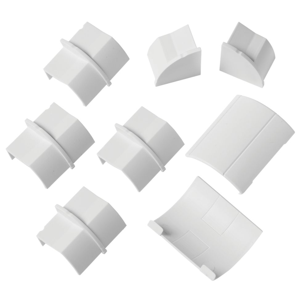 Image of D-Line Decorative Trunking Floor Trim Accessories Pack White 22 x 22mm 8Pcs