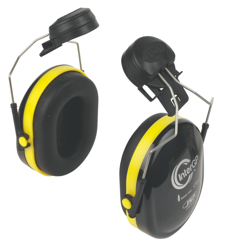 Image of JSP InterGP Safety Helmet Mounted Ear Defenders Black/Yellow
