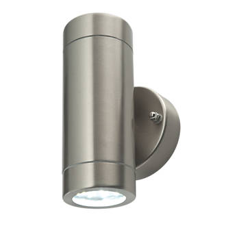 Outdoor lights lighting screwfix lap bronx brushed stainless steel led up down wall light 600lm 2 x aloadofball Images