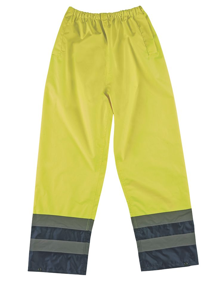 """Image of Hi-Vis 2-Tone Reflective Trousers Elasticated Yellow/Navy XXL 28-50"""" W 31"""" L"""
