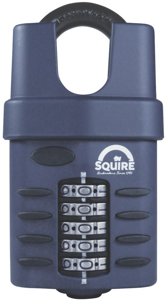 Image of Squire Die-Cast Steel Combination Closed Shackle Padlock Blue 60mm