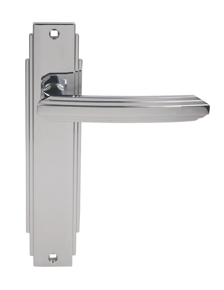 Image of Carlisle Brass Art Deco Lever on Backplate Latch Door Handles Pair Polished Chrome
