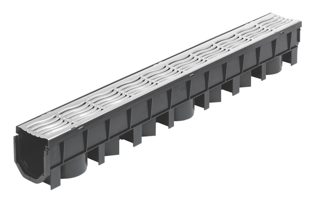 Image of FloPlast FloDrain Channel Drain & Galv. Grate Black / Silver 115mm x 1010mm