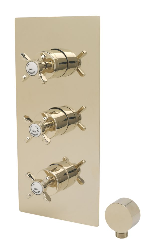 Image of Bristan 1901 Built-In Shower Valve with Integral Twin Stop Cocks Fixed Gold