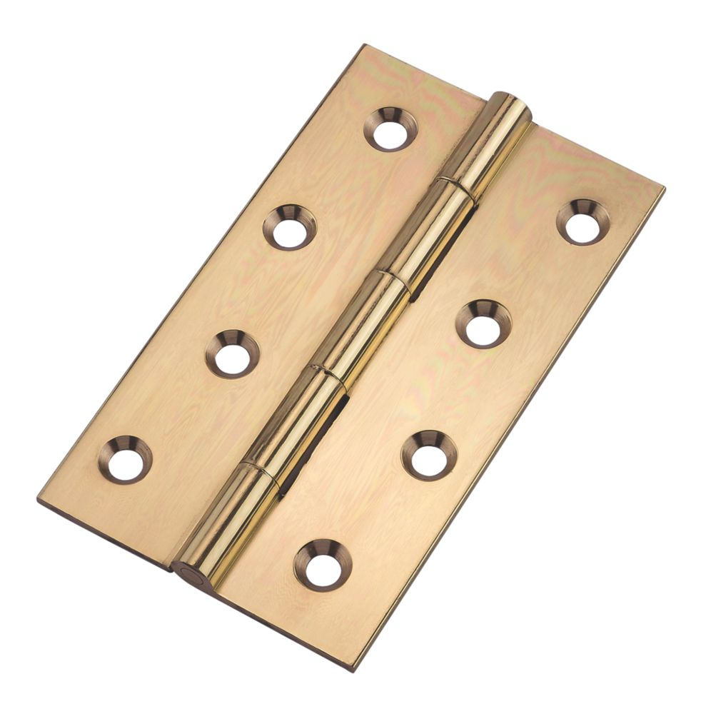 Image of Butt Hinges Polished Brass 102 x 61mm 2 Pack