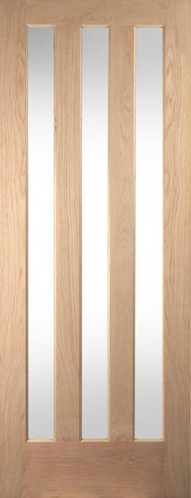 Image of Jeld-Wen Aston 3-Panel Clear-Glazed Interior Door Oak Veneer 1981 x 838mm