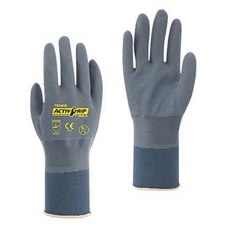 Image of Towa ActivGrip 503 Fully-Coated Nitrile Gloves Grey / Purple X Large