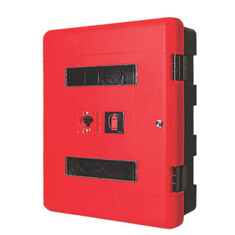 Image of Firechief 106-1158 Double Extinguisher Cabinet with Key Lock 616 x 270 x 735mm Red / Black
