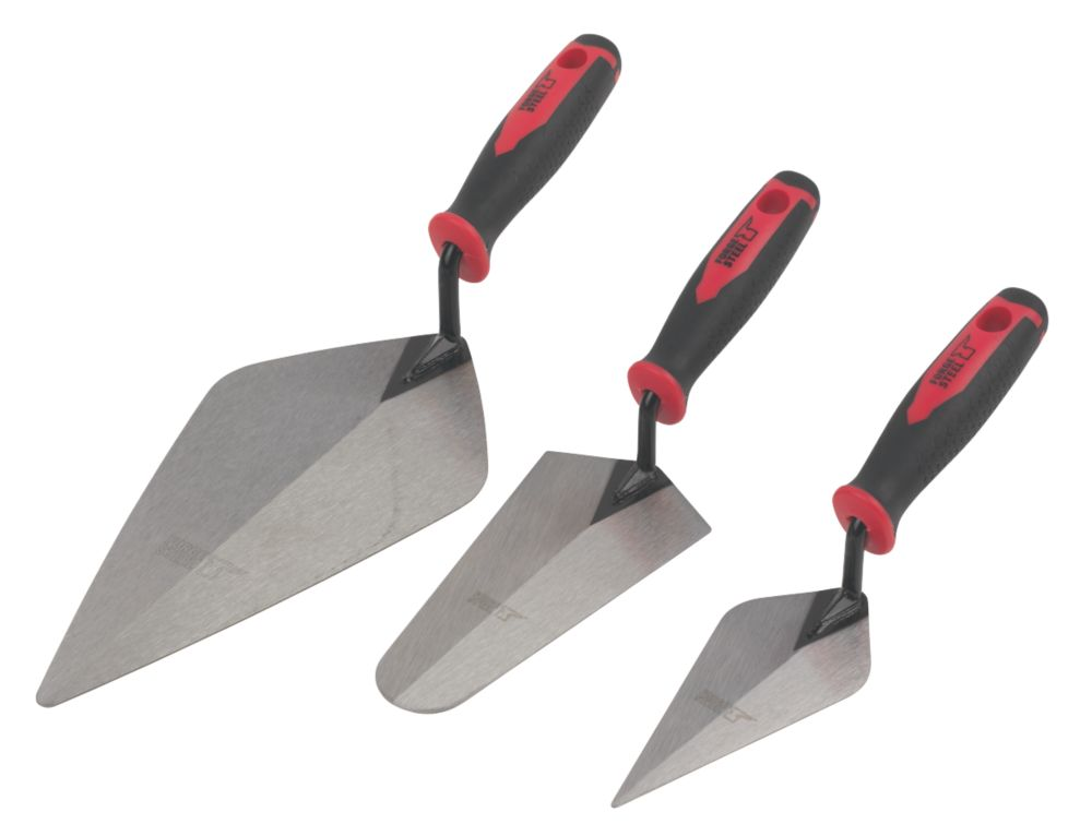 Image of Forge Steel Brick Trowel Set 3 Pieces