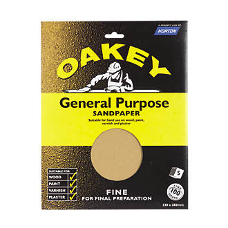 Image of Oakey Glass Paper Unpunched 280 x 230mm 100 Grit 5 Pack