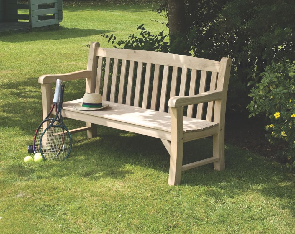 Image of Rowlinson Solid Oak Garden Bench Oak 1500 x 630 x 870mm