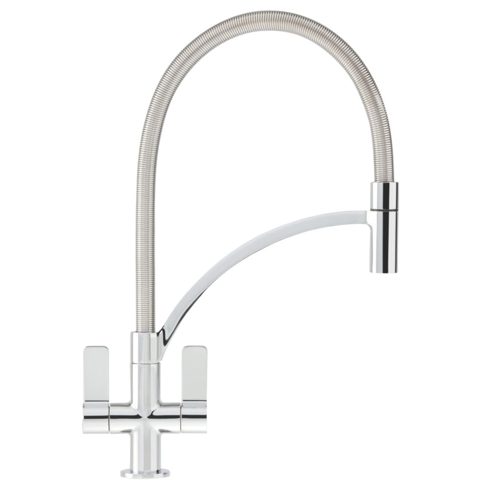 White Kitchen Mixer Tap franke wave pull-out mono mixer kitchen tap chrome | pull out