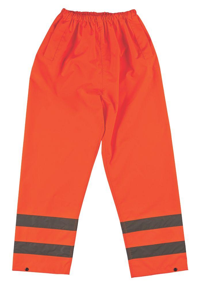"Image of Hi-Vis Trousers Elasticated Waist Orange Large 26-46"" W 30"" L"