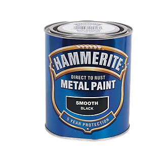Image of Hammerite Smooth Metal Paint Black 750ml