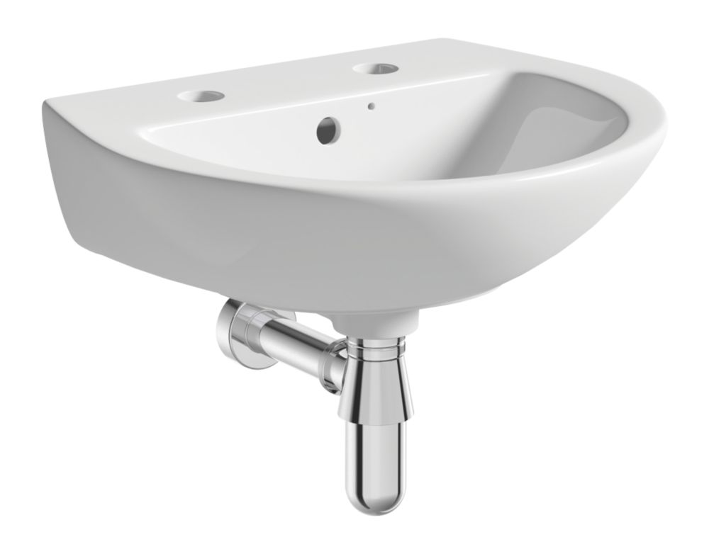 Image of Wall-Hung Cloakroom Basin 2 Tap Holes 450mm