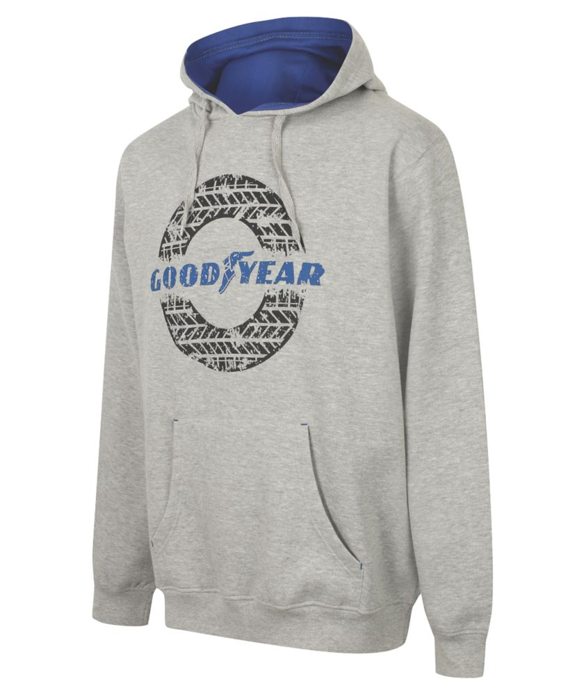 """Image of Goodyear Graphic Hooded Sweater Grey Marl Large 42"""" Chest"""