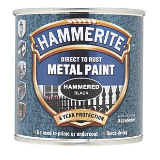 Image of Hammerite Hammered Metal Paint Black 250ml