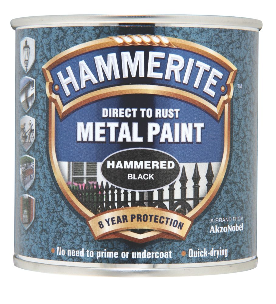 Image of Hammerite Hammered Metal Paint Black 250ml