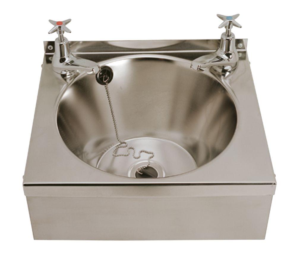 Image of Franke Model B Wall-Hung Washbasin 2 Taps S/Steel 1-Bowl 340 x 345mm