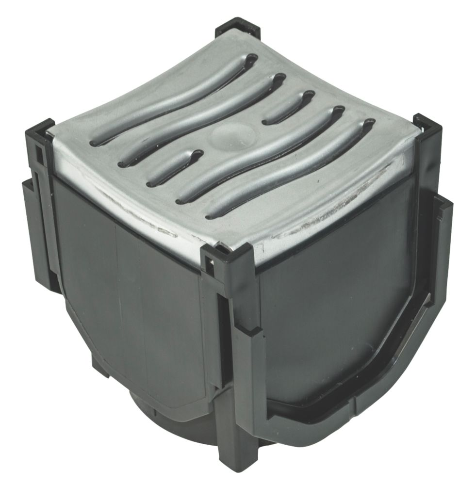 Image of FloPlast FloDrain Quad Connector Drain Cover & Grate Black / Silver 120mm x 118mm
