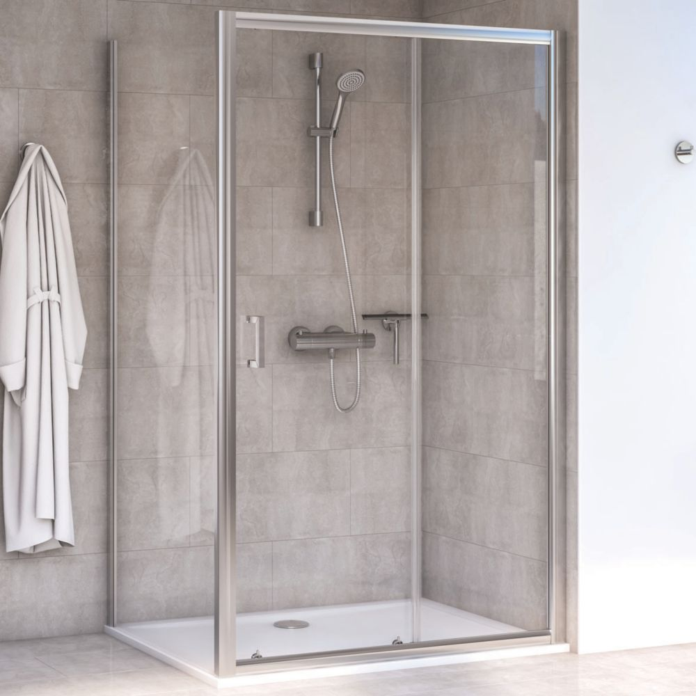 Image of Aqualux Edge 6 Rectangular Shower Enclosure LH/RH Polished Silver 1000 x 760 x 1900mm