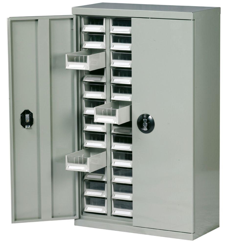 steel drawer cabinet w/lockable doors & 48 bin trays 586 x 270 x
