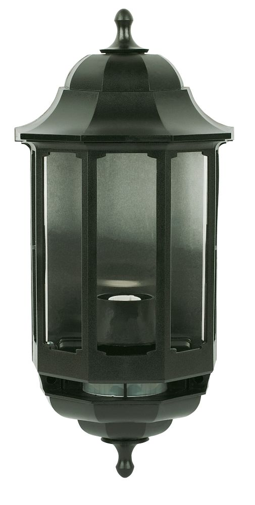 Image of ASD 60W Black Slave Half Lantern Wall Light PIR Included