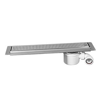 Image of McAlpine CD600-SQ Channel Drain With Grid Brushed Stainless Steel 610 x 150mm