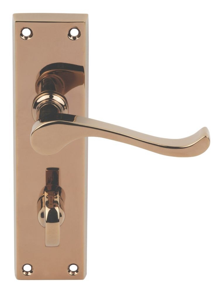 Image of Carlisle Brass Victorian Scroll Lever on Backplate WC Door Handles Pair Copper Finish