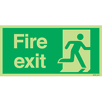 Image of Nite-Glo 'Fire Exit' Running Man Right Sign 150 x 300mm