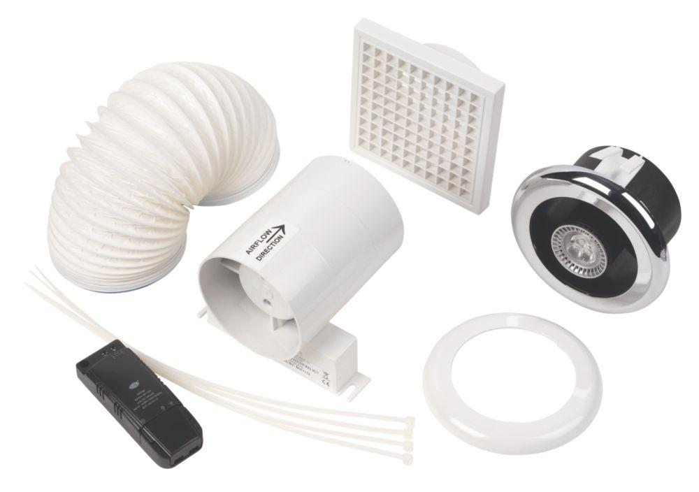 Bathroom Led Lights With Extractor Fan manrose in-line led shower light fan kit bright chrome   bathroom