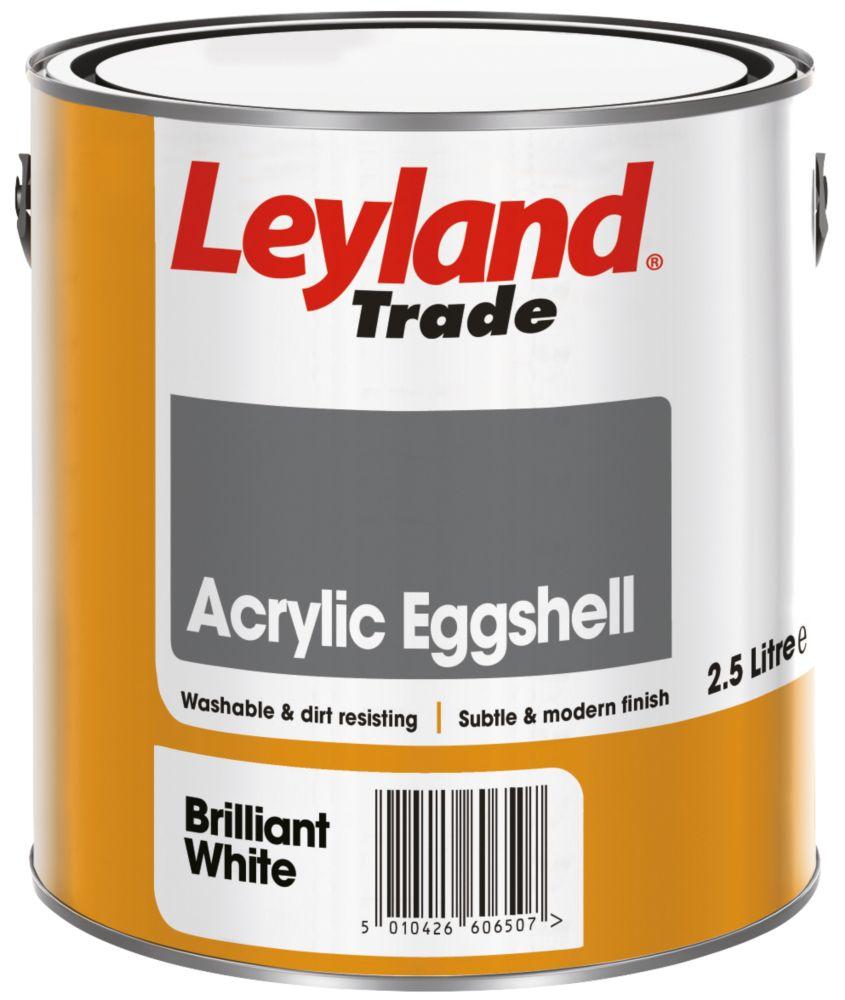 Image of Leyland Trade Acrylic Eggshell Emulsion Paint Brilliant White 2.5Ltr