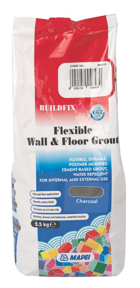 Image of Mapei BuildFix Flexible Wall & Floor Grout Charcoal 2.5kg