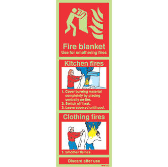Image of Nite-Glo 'Fire Blanket' Kitchen Fire Sign 100 x 300mm