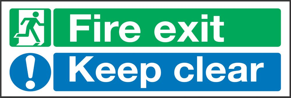 """Image of Fire Exit Keep Clear"""" Signs 150 x 450mm 50 Pack"""