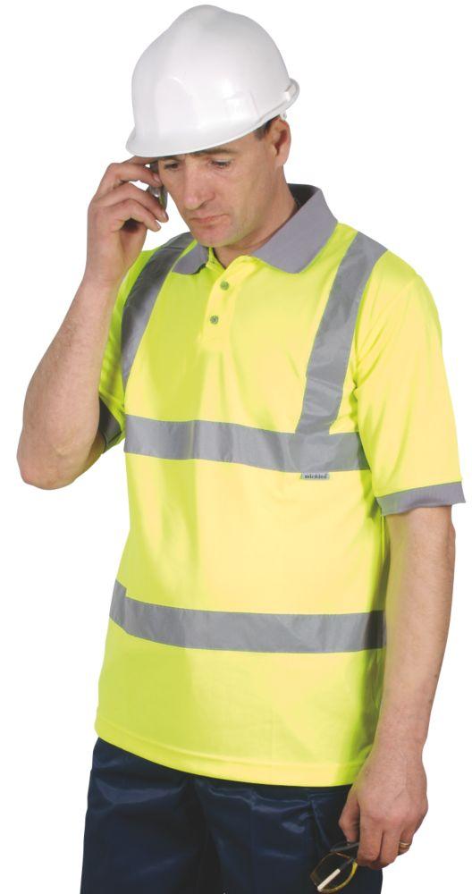 "Image of Dickies SA22075 Hi-Vis Safety Polo Shirt Saturn Yellow X Large 48-50"" Chest"