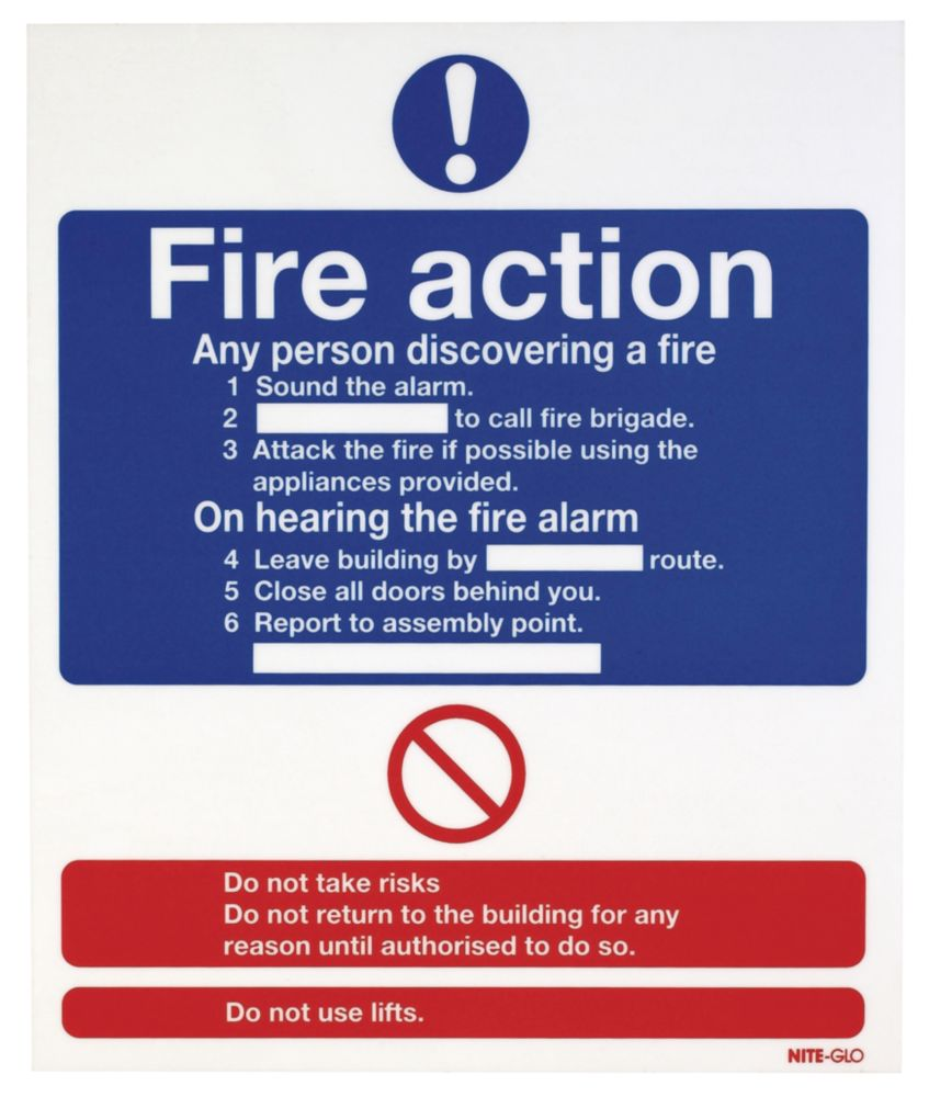 "Image of Nite-Glo ""Fire Action"" Notice Sign 300 x 250mm"