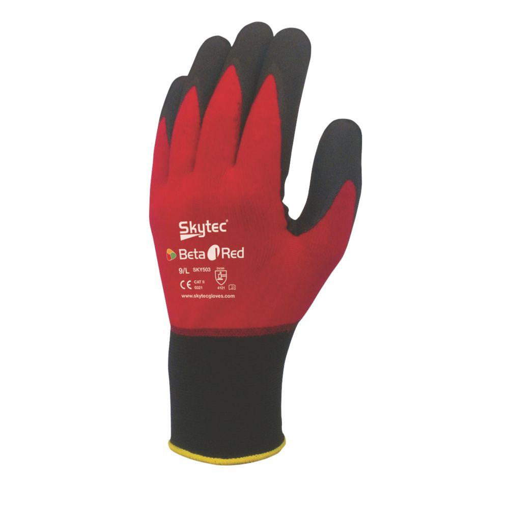 Image of Skytec Beta 1 Nylon Nitrile Gloves Red Medium